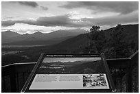 Parks interpretative sign. Rocky Mountain National Park, Colorado, USA. (black and white)