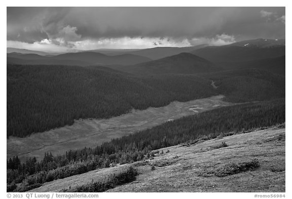 Valley under stormy skies. Rocky Mountain National Park (black and white)
