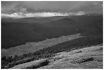 Valley under stormy skies. Rocky Mountain National Park, Colorado, USA. (black and white)