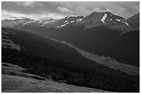 Kawuneeche Valley and Never Summer Mountains. Rocky Mountain National Park, Colorado, USA. (black and white)