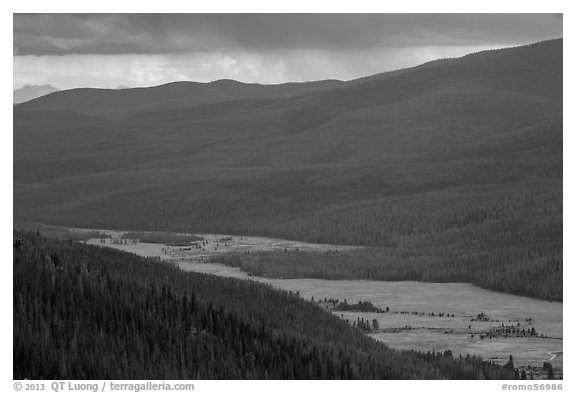 Kawuneeche Valley and storm. Rocky Mountain National Park (black and white)