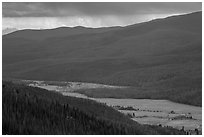 Kawuneeche Valley and storm. Rocky Mountain National Park, Colorado, USA. (black and white)