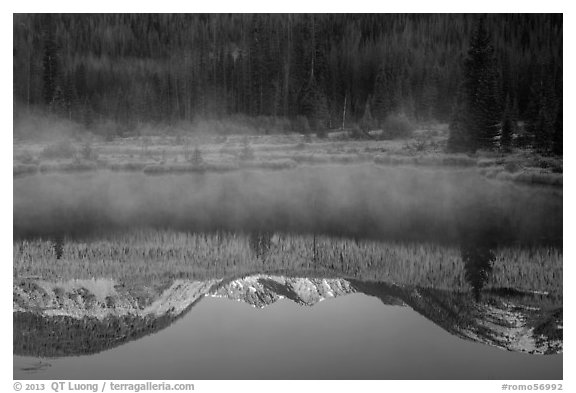 Mist and Never Summer Mountains reflection. Rocky Mountain National Park (black and white)