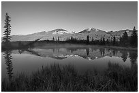 Beaver pond and Never Summer Mountains. Rocky Mountain National Park, Colorado, USA. (black and white)
