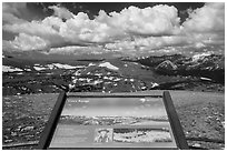 Gore range interpretative sign. Rocky Mountain National Park, Colorado, USA. (black and white)