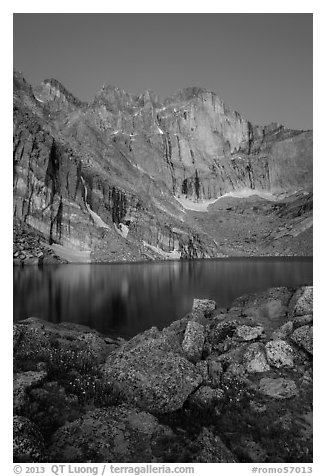Longs Peak Diamond face and Chasm Lake at dawn. Rocky Mountain National Park (black and white)