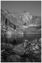 Longs Peak Diamond face and Chasm Lake at dawn. Rocky Mountain National Park, Colorado, USA. (black and white)