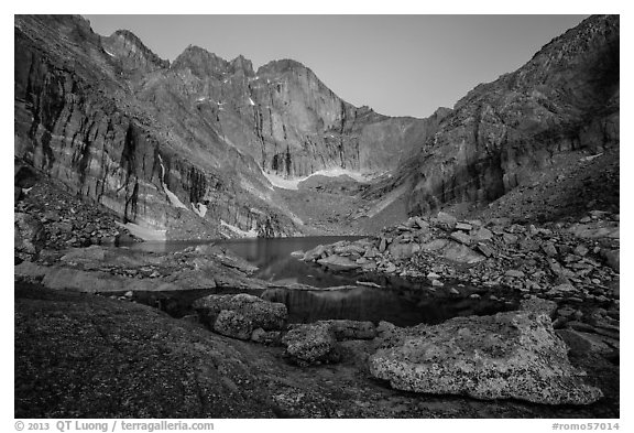 Longs Peak above Chasm Lake at twilight. Rocky Mountain National Park (black and white)