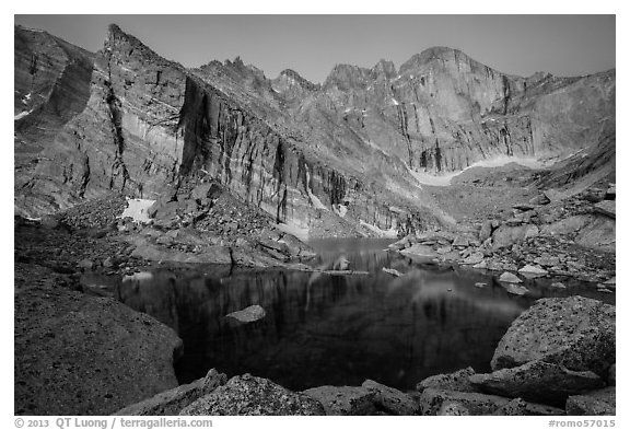 Longs Peak above Chasm Lake at dawn. Rocky Mountain National Park (black and white)