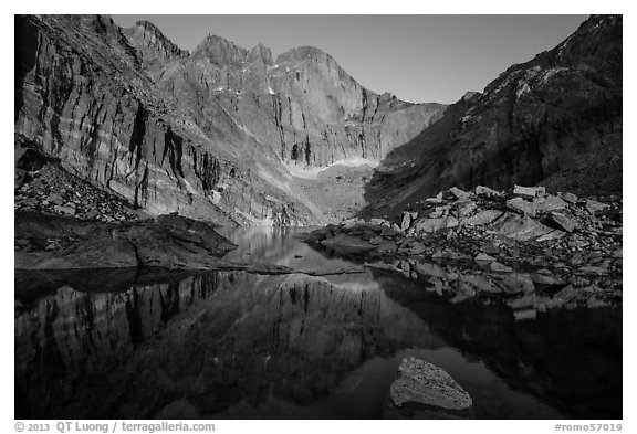 Longs Peak above Chasm Lake at sunrise. Rocky Mountain National Park (black and white)