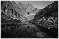 Longs Peak above Chasm Lake at sunrise. Rocky Mountain National Park, Colorado, USA. (black and white)