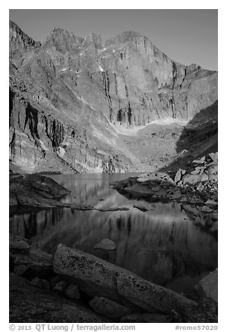 Longs Peak and Chasm Lake at sunrise. Rocky Mountain National Park (black and white)