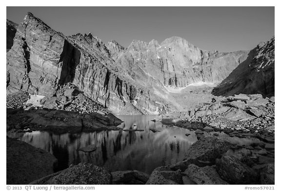Chasm Lake with Longs Peak, Mt Meeker, and Mount Lady Washington at sunrise. Rocky Mountain National Park (black and white)