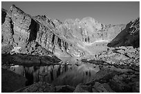 Chasm Lake with Longs Peak, Mt Meeker, and Mount Lady Washington at sunrise. Rocky Mountain National Park, Colorado, USA. (black and white)