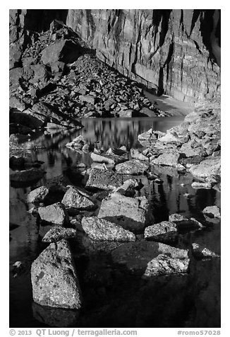 Rock wall, and boulders, Chasm Lake. Rocky Mountain National Park (black and white)