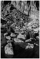 Rock wall, and boulders, Chasm Lake. Rocky Mountain National Park, Colorado, USA. (black and white)