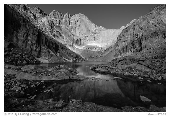 Longs Peak cirque and Chasm Lake, morning. Rocky Mountain National Park (black and white)