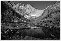 Longs Peak cirque and Chasm Lake, morning. Rocky Mountain National Park, Colorado, USA. (black and white)
