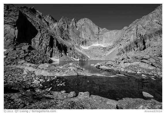 Chasm Lake and Longs Peak, morning. Rocky Mountain National Park (black and white)