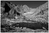 Chasm Lake and Longs Peak, morning. Rocky Mountain National Park, Colorado, USA. (black and white)