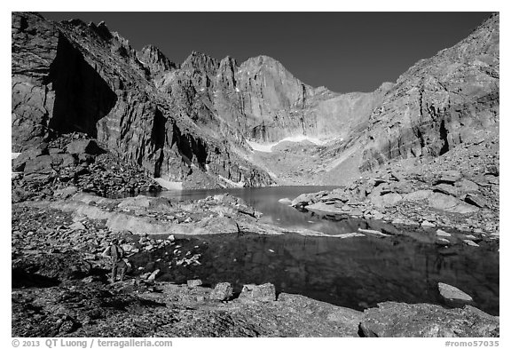 Park visitor Looking, Chasm Lake. Rocky Mountain National Park (black and white)
