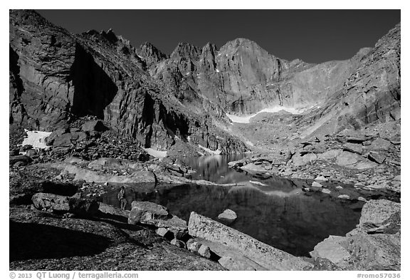 Park visitor Looking, Chasm Lake and Longs Peak. Rocky Mountain National Park (black and white)