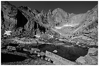 Park visitor Looking, Chasm Lake and Longs Peak. Rocky Mountain National Park, Colorado, USA. (black and white)