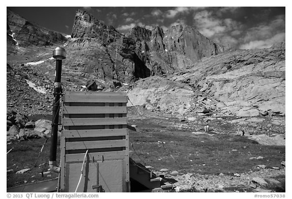 Open air toilet. Rocky Mountain National Park (black and white)