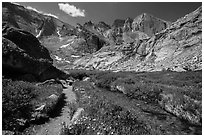 Chasm Lake trail. Rocky Mountain National Park, Colorado, USA. (black and white)