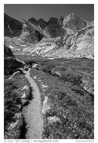 Trail, stream, and Longs Peak. Rocky Mountain National Park (black and white)