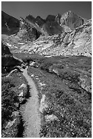 Trail, stream, and Longs Peak. Rocky Mountain National Park, Colorado, USA. (black and white)