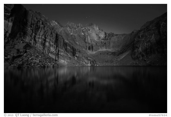 Chasm Lake at night. Rocky Mountain National Park (black and white)