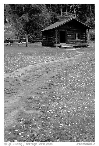 Meadow with flowers and historic cabin, Never Summer Ranch. Rocky Mountain National Park (black and white)