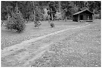 Path and historic cabin at Never Summer Ranch. Rocky Mountain National Park, Colorado, USA. (black and white)
