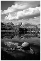Clouds, boulders, Continental Divide, and Sprague Lake. Rocky Mountain National Park ( black and white)