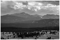 Beaver Meadow and Continental Divide with storm clouds. Rocky Mountain National Park ( black and white)