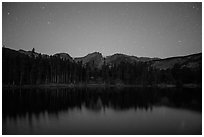 Sprague Lake at night. Rocky Mountain National Park ( black and white)