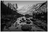 Hallet Peak and Flattop Mountain reflected in Dream Lake. Rocky Mountain National Park ( black and white)