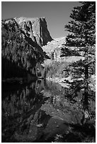 Hallet Peak and Dream Lake reflections. Rocky Mountain National Park ( black and white)