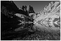 Granite walls climb straight out of Emerald Lake. Rocky Mountain National Park ( black and white)