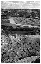 Little Missouri river and badlands at River bend. Theodore Roosevelt National Park ( black and white)
