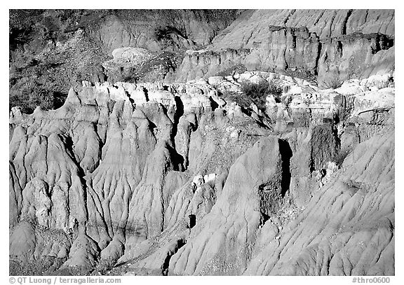 Badlands and caprock formations. Theodore Roosevelt National Park (black and white)
