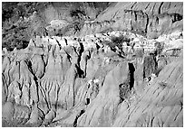 Badlands and caprock formations. Theodore Roosevelt National Park, North Dakota, USA. (black and white)