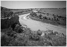 Bend of the Little Missouri River, and Wind Canyon. Theodore Roosevelt National Park ( black and white)