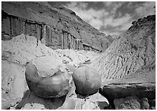 Big cannon ball formations in eroded badlands, North Unit. Theodore Roosevelt National Park, North Dakota, USA. (black and white)
