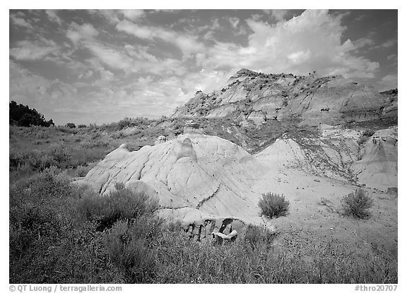Colorful badlands and clouds, North Unit. Theodore Roosevelt National Park (black and white)