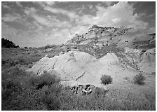Colorful badlands and clouds, North Unit. Theodore Roosevelt National Park, North Dakota, USA. (black and white)