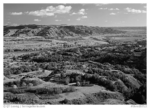 Little Missouri River bend in autumn, North Unit. Theodore Roosevelt  National Park (black and white)