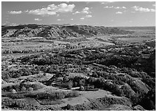 Little Missouri River Oxbow Bend in autumn, North Unit. Theodore Roosevelt National Park ( black and white)