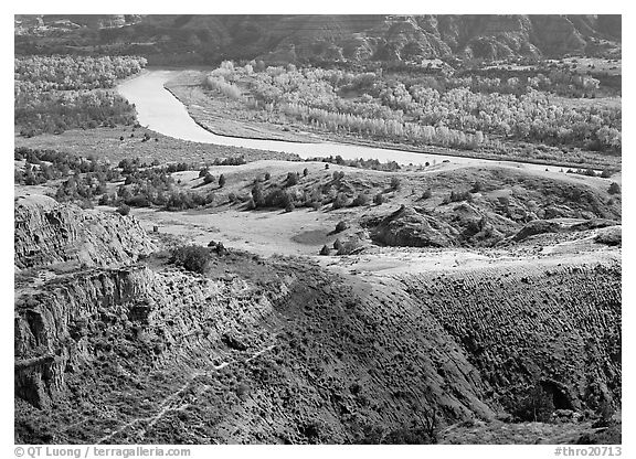 Little Missouri river and badlands at River bend in autumn. Theodore Roosevelt National Park (black and white)